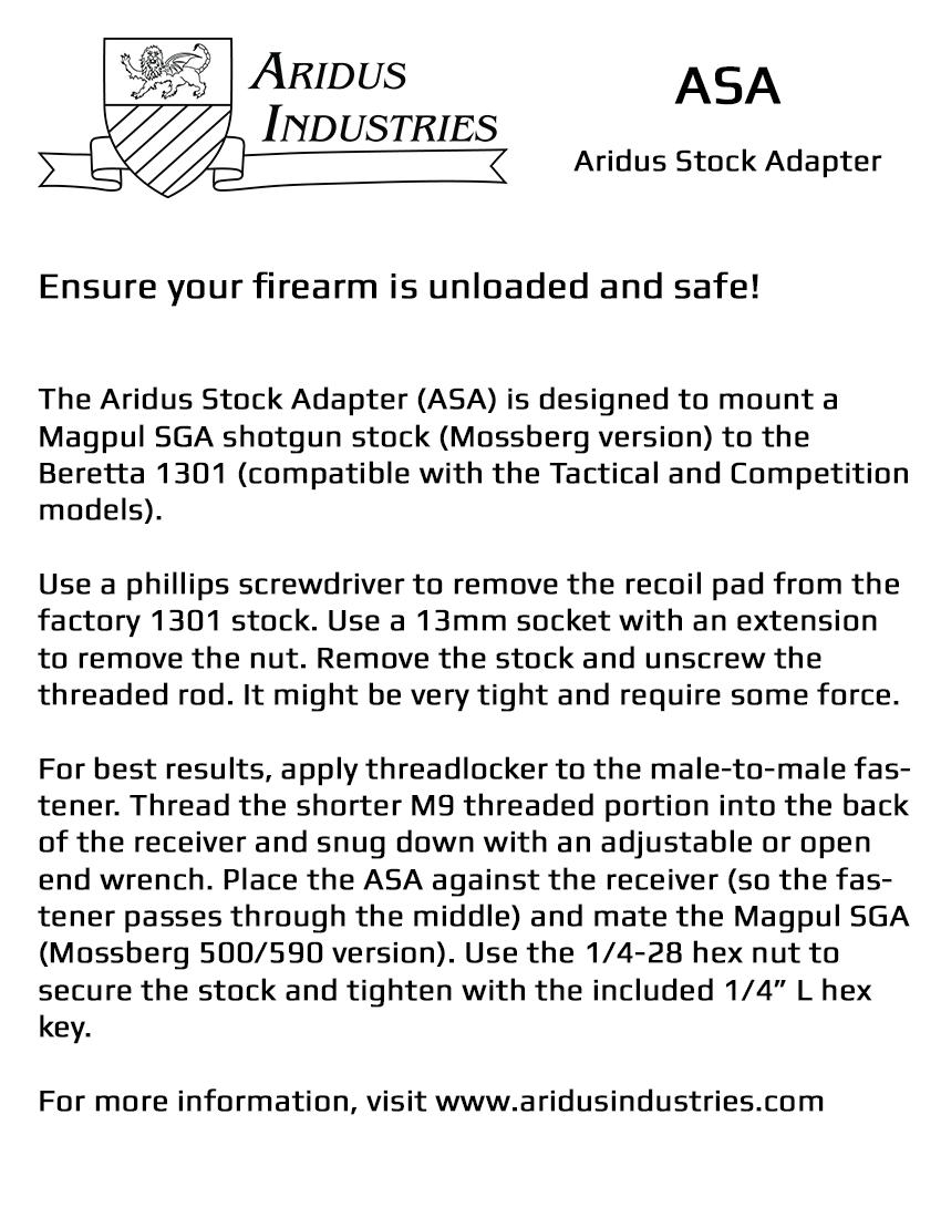 Asa 1301 Stock Adapter Aridus Industries